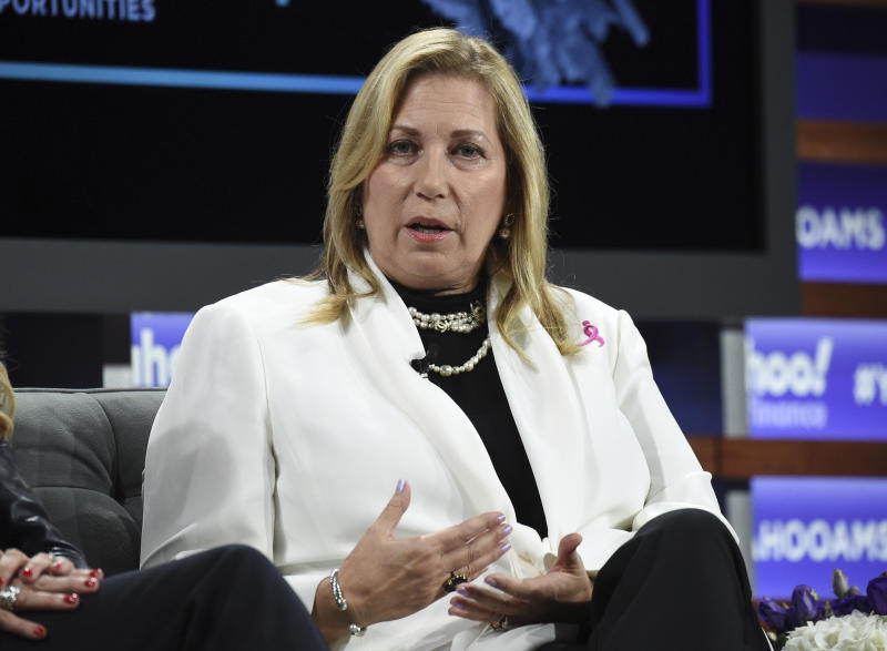 Susan G. Komen CEO Paula Schneider participates in the Yahoo Finance All Markets Summit at Union West on Thursday, Oct. 10, 2019, in New York. (Photo by Evan Agostini/Invision/AP)