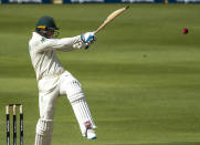 South Africa's batsman Rassie van der Dussen plays a shot during the 2nd Test cricket match between South Africa and Sri Lanka Wanderers stadium in Johannesburg, South Africa, Sunday, Jan. 3, 2021. (AP Photo/Themba Hadebe)