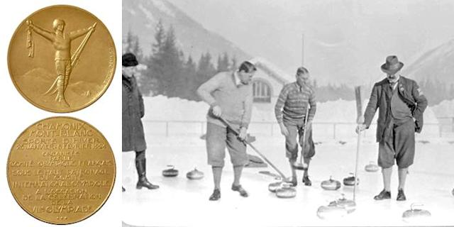 <p>The 1924 Winter Olympics were the first Winter Games ever held. The medals featured a winter sports athlete holding a pair of skates and skis in his hands.<br> (IOC photos; Curling in Chamonix 1924, the team of Great Britain in Chamonix, France.) </p>
