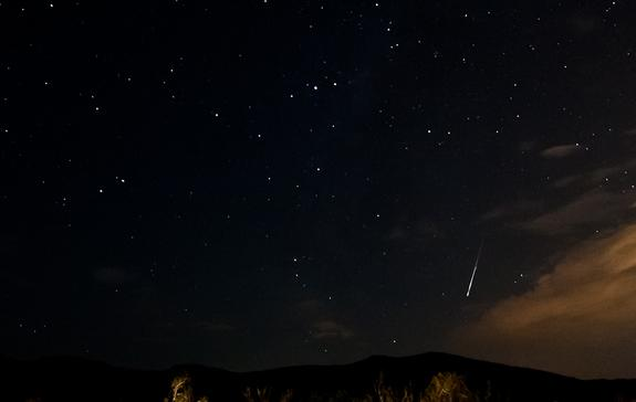 Photographer Tyler Leavitt captured this bright Perseid meteor on Aug. 12 as it lit up the sky just outside of Las Vegas, Nevada, during the peak of the 2012 Perseid meteor shower.