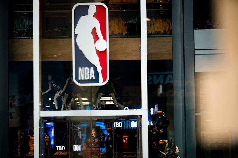 NEW YORK, NY - MARCH 12: An NBA logo is shown at the 5th Avenue NBA store on March 12, 2020 in New York City. The National Basketball Association said they would suspend all games after player Rudy Gobert of the Utah Jazz reportedly tested positive for the Coronavirus (COVID-19). (Photo by Jeenah Moon/Getty Images)