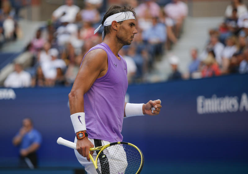 Rafael Nadal, of Spain, reacts after scoring a point against Hyeon Chung, of South Korea, during round three of the US Open tennis championships Saturday, Aug. 31, 2019, in New York. (AP Photo/Eduardo Munoz Alvarez)