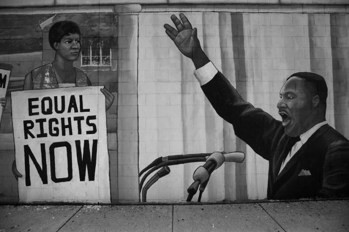 <p>Mural of Dr. Martin Luther King, Jr. and the Civil Rights movement outside the Democratic National Convention Monday, July 25, 2016, in Philadelphia, PA. (Photo: Khue Bui for Yahoo News)</p>