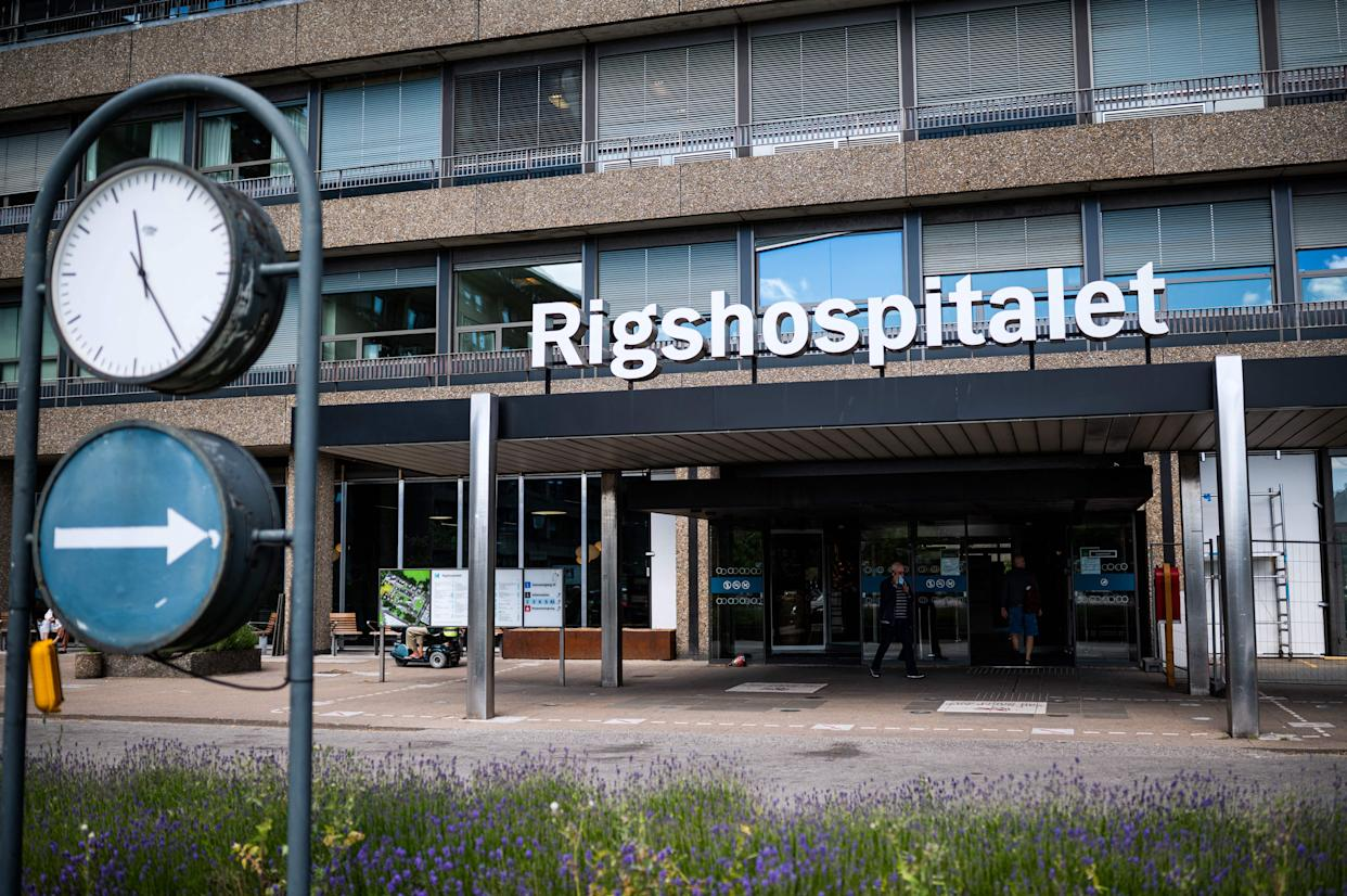 A photo taken on June 13, 2021 shows the Rigshopitalet hospital in Copenhagen, where Denmark's midfielder Christian Eriksen is hospitalized after he collapsed on the pitch during the UEFA EURO 2020 Group B football match between Denmark and Finland on June 12. (Photo by JONATHAN NACKSTRAND / AFP) (Photo by JONATHAN NACKSTRAND/AFP via Getty Images)