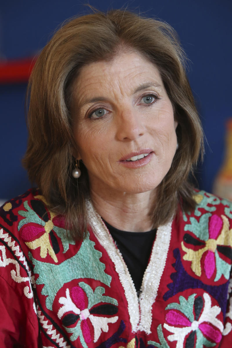 In this Tuesday, March 26, 2013 photo, Caroline Kennedy speaks during an interview with The Associated Press in New York. Kennedy's 10th and latest book extols the value of learning poems by heart. (AP Photo/Mary Altaffer)