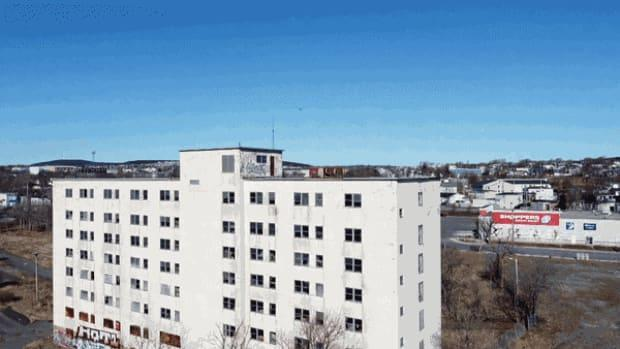 The abandoned Grace General nurses' residence has become a notorious eyesore in the LeMarchant Road area of St. John's.  (MakeTech Aerospace/CBC  - image credit)