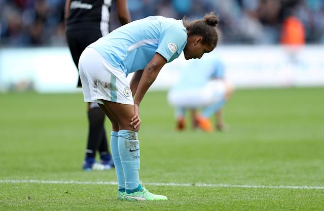 Soccer Football - Women's Champions League Semi-Final First Leg - Manchester City v Olympique Lyonnais - Academy Stadium, Manchester, Britain - April 22, 2018 Manchester City's Nikita Parris reacts at the end of the game Action Images via Reuters/John Clifton