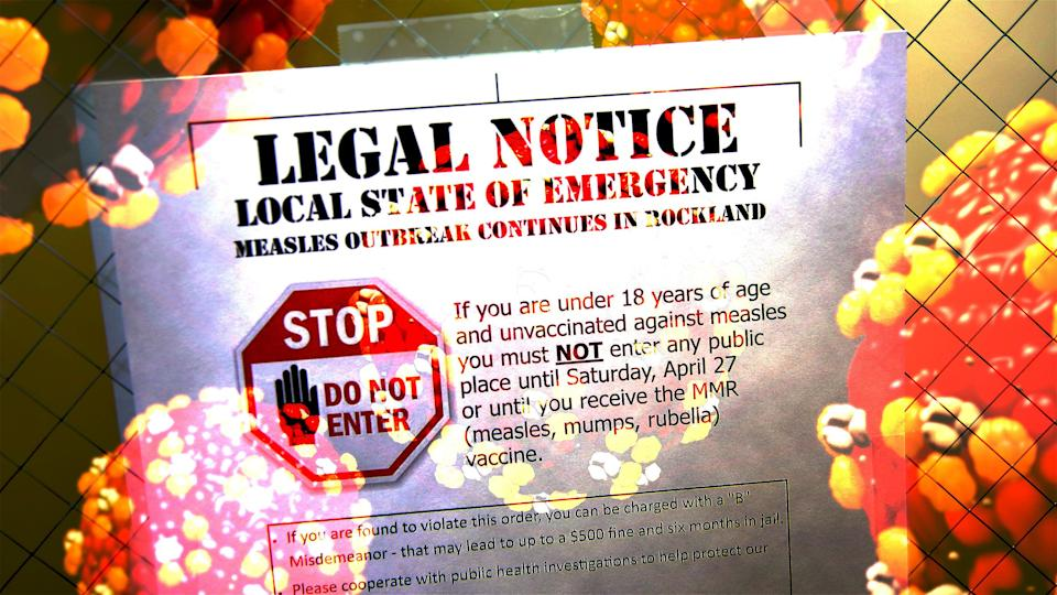 Measles virus and outbreak notice. (Photo illustration: Yahoo News; photos: Seth Wenig/AP, Getty Images)