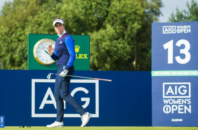 Former champion Georgia Hall shares the halfway lead at the AIG Women's Open at Carnoustie (Tristan Jones/LET)