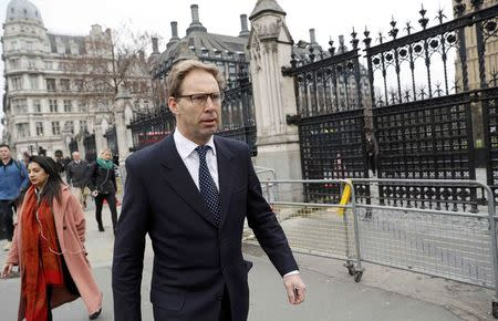 British Member of Parliament Tobias Ellwood walks past Carriage Gates as he arrives at the Houses of Parliament, following a recent attack in Westminster, London, Britain March 24, 2017. REUTERS/Darren Staples
