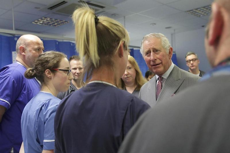 Prince Charles meets paramedics and support staff who assisted victims of the recent attack in Westminster. (REUTERS)