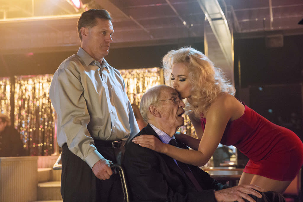 "Martin Landau as J. Howard Marshall and Agnes Brucker as Anna Nicole Smith in the Lifetime Original Movie, ""Anna Nicole."""