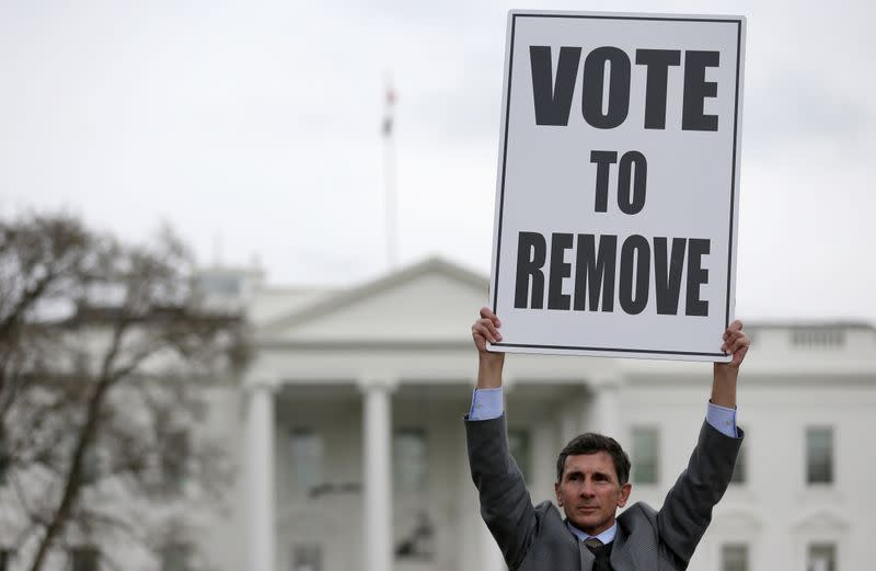 Protester stands outside the White House in Washington