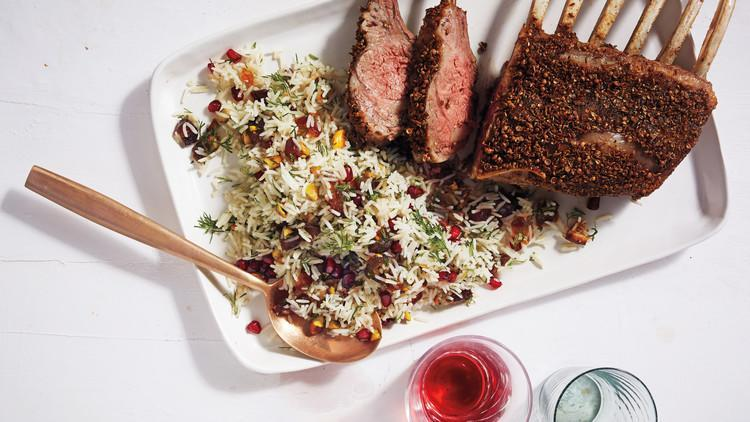 """<p>Whether it's for a birthday, anniversary, or special weekend meal, your family will love this tasty iteration of a rack of lamb. Toasted cumin and coriander seeds season the meat, which is served with our <a href=""""https://www.marthastewart.com/1099702/herbed-rice-dates-and-pomegranate"""" rel=""""nofollow noopener"""" target=""""_blank"""" data-ylk=""""slk:Herbed Rice"""" class=""""link rapid-noclick-resp"""">Herbed Rice</a> featuring dates and pomegranate. <a href=""""https://www.marthastewart.com/1099706/spice-rubbed-rack-lamb"""" rel=""""nofollow noopener"""" target=""""_blank"""" data-ylk=""""slk:View recipe"""" class=""""link rapid-noclick-resp""""> View recipe </a></p>"""