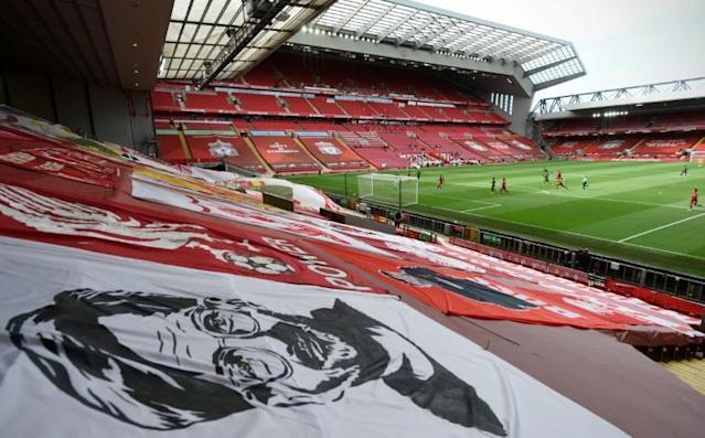 The Kop was quiet as Liverpool returned to Anfield for the first time since being crowned Premier League champions (AFP Photo/Shaun Botterill )