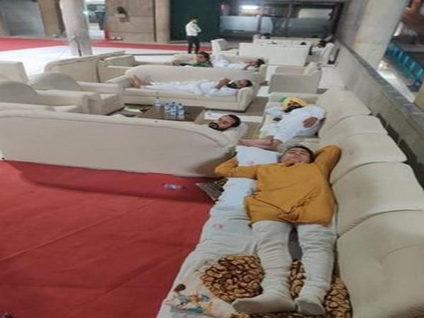 Aam Aadmi Party (AAP) MLAs slept inside Punjab Assembly on Monday night. (Photo/ANI)