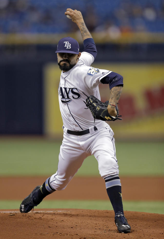 Tampa Bay Rays' Sergio Romo goes into his delivery to a Baltimore Orioles batter during the first inning of a baseball game Friday, May 25, 2018, in St. Petersburg, Fla. (AP Photo/Chris O'Meara)