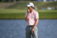 Maverick McNealy reacts after missing a putt on the 18th hole during the third round of the 3M Open golf tournament in Blaine, Minn., Saturday, July 24, 2021. (AP Photo/Craig Lassig)