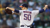 Houston Astros pitcher Charlie Morton works against the Oakland Athletics in the first inning of a baseball game Friday, Aug. 17, 2018, in Oakland, Calif. (AP Photo/Ben Margot)