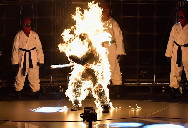 <p>A fire performer was part of Kendrick Lamar's act at the VMAs. (Photo: Lester Cohen/WireImage) </p>