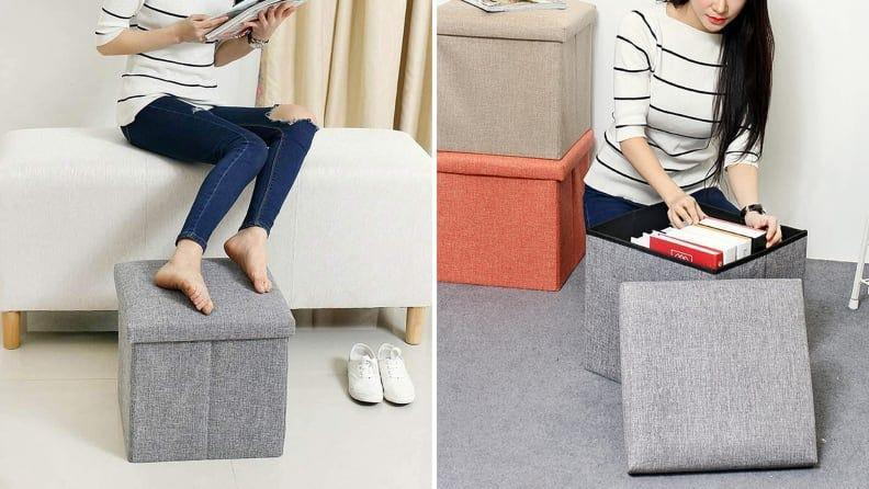 This storage cube does double duty as an ottoman.