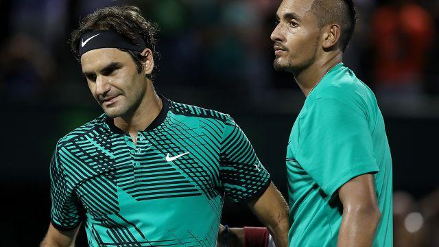 Federer and Kyrgios. Image: Getty