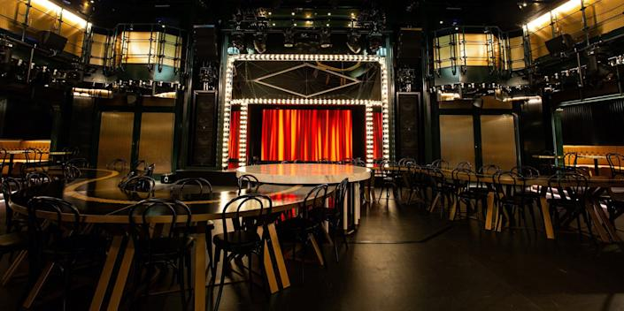 tables in front of a stage