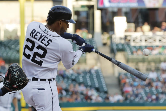 Detroit Tigers' Victor Reyes connects for a two-run single during the second inning of a baseball game against the Seattle Mariners, Wednesday, Aug. 14, 2019, in Detroit. (AP Photo/Carlos Osorio)