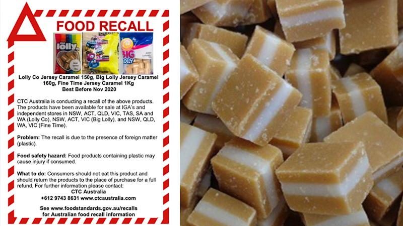 The recall notice for the jersey caramels