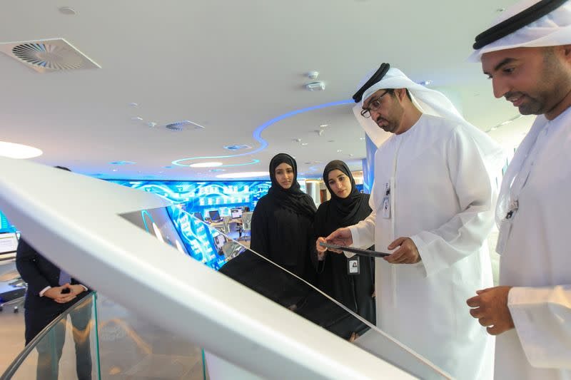 Sultan Ahmed Al Jaber, UAE Minister of State and the Abu Dhabi National Oil Company (ADNOC) Group CEO talks to employees at the Panorama Digital Command Centre at the ADNOC headquarters in Abu Dhabi