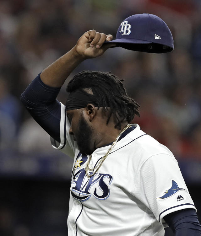 Tampa Bay Rays relief pitcher Diego Castillo (63) reacts after being taken out during the eighth inning of a baseball game against the Boston Red Sox, Friday, April 19, 2019, in St. Petersburg, Fla. (AP Photo/Chris O'Meara)