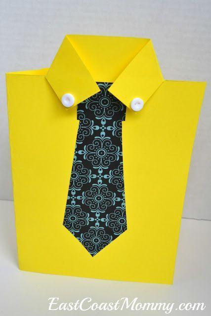 """<p>If he wears ties every day, it's only fitting he gets a card with his staple style. Real tie not included. </p><p><a href=""""https://eastcoastmommyblog.blogspot.ca/2017/05/shirt-and-tie-fathers-day-card.html"""" rel=""""nofollow noopener"""" target=""""_blank"""" data-ylk=""""slk:Get the tutorial from East Coast Mommy »"""" class=""""link rapid-noclick-resp""""><em>Get the tutorial from East Coast Mommy »</em><br></a></p>"""