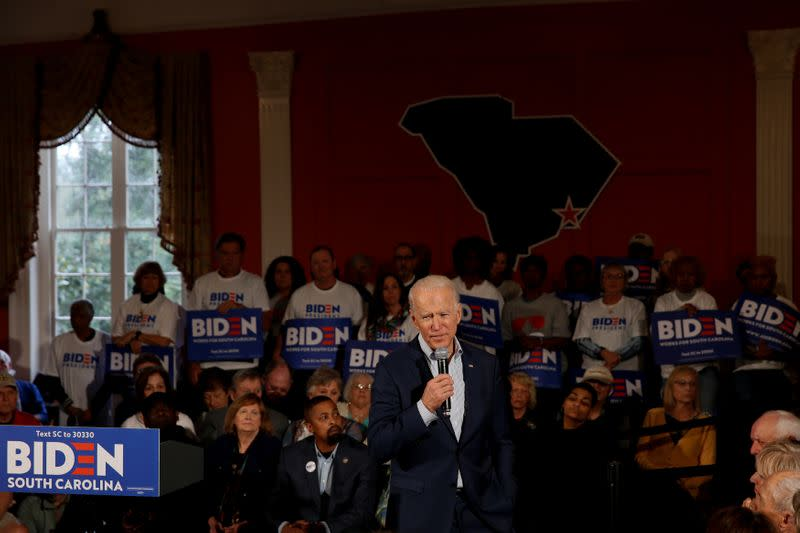 Democratic U.S. presidential candidate and former U.S. Vice President Biden speaks at a campaign event in Georgetown