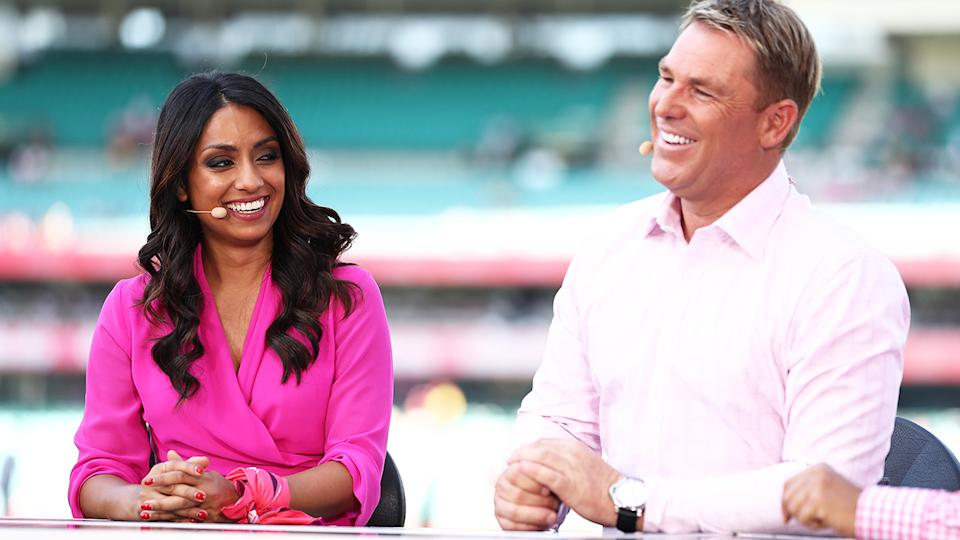 Isa Guha and Shane Warne, pictured here in commentary for Fox Sports earlier this year.