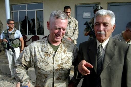 Defense Secretary Jim Mattis, left, pictured here when he was serving as a Marine commander in Fallujah in 2004, appearing alongside Iraqi General Mohammed Latif,  head of the Fallujah Brigade
