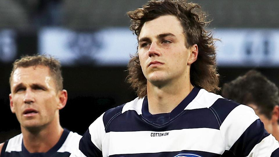 Geelong's Jordan Clark is reportedly unhappy about negotiations for a trade to Fremantle stalling over draft picks. (Photo by Dylan Burns/AFL Photos via Getty Images)