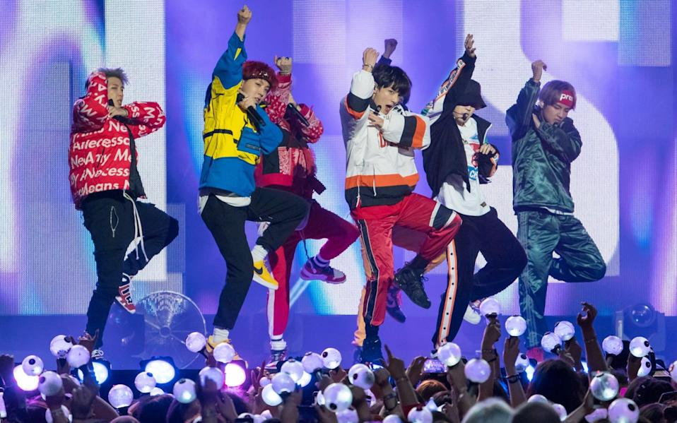 K-pop band BTS performing on Jimmy Kimmel to adoring fans - GC Images