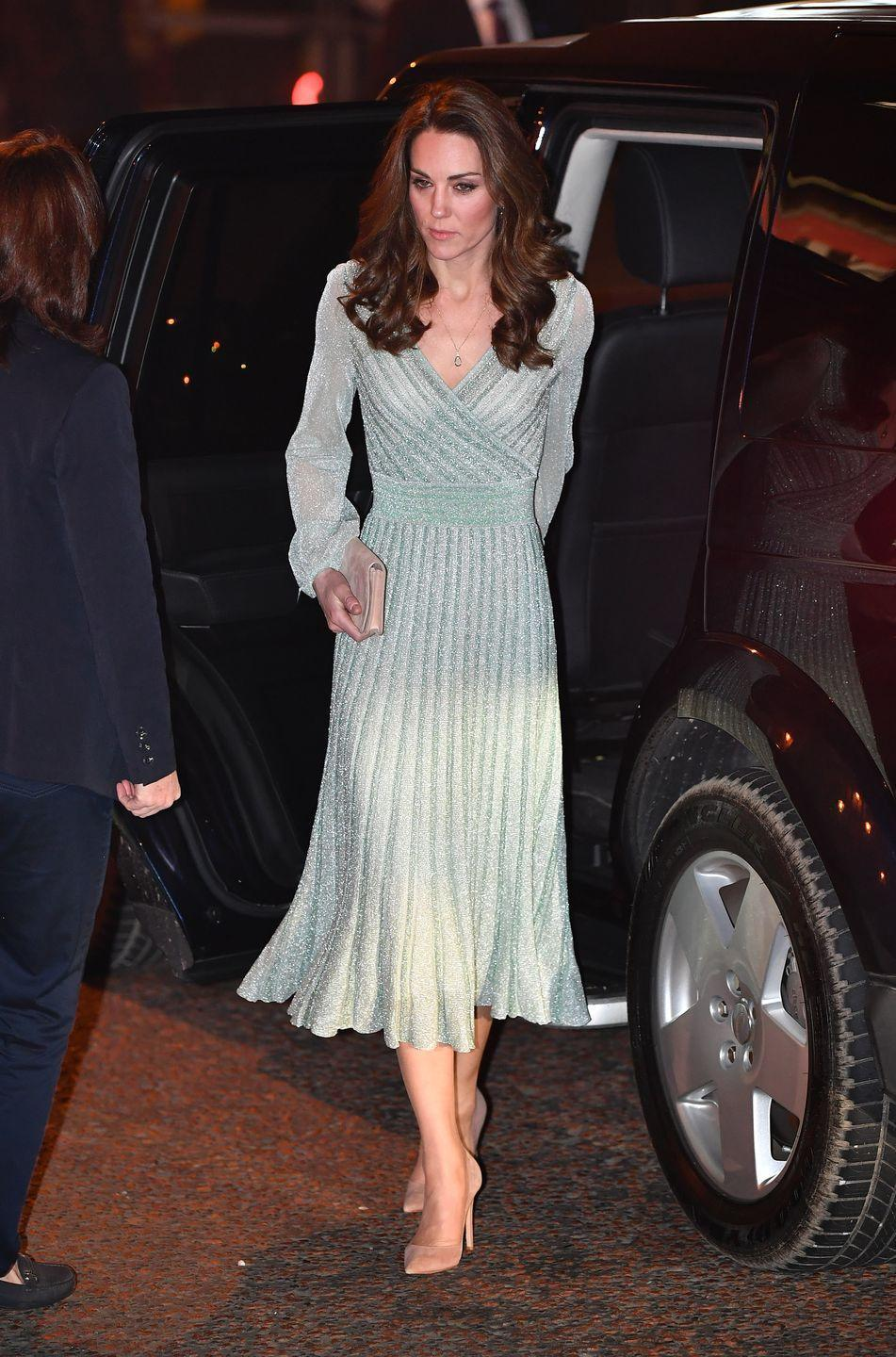 <p>Kate was spotted in a shimmering Missoni dress on her first night in Northern Ireland. </p>