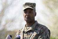 Brig. Gen. Michael J. Talley, commander of U.S. Army Medical Research and Development Command and Fort Detrick, Md., pauses as he speaks during a news conference near the scene of a shooting at a business park in Frederick, Md., Tuesday, April 6, 2021. (AP Photo/Carolyn Kaster)