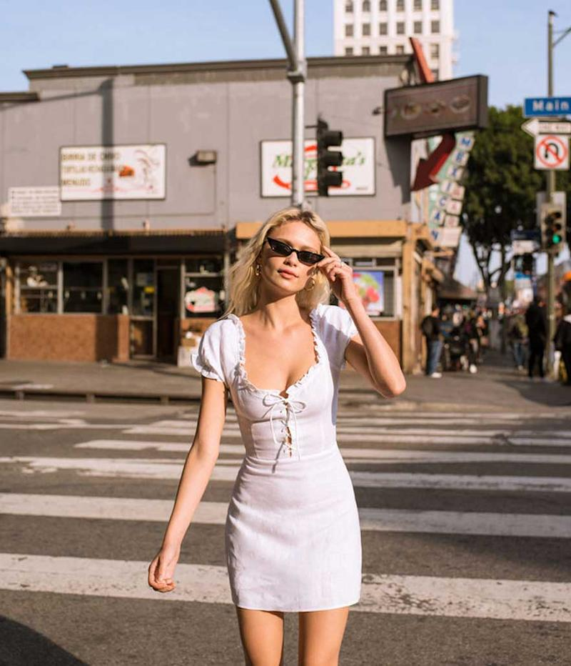 Vintage-inspired lace-up minidress. (Photo: Reformation)