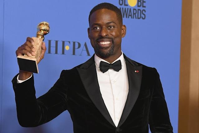 Actor Sterling K. Brown wins a Golden Globe for his performance in <em>This Is Us.</em> (Photo: Getty Images)