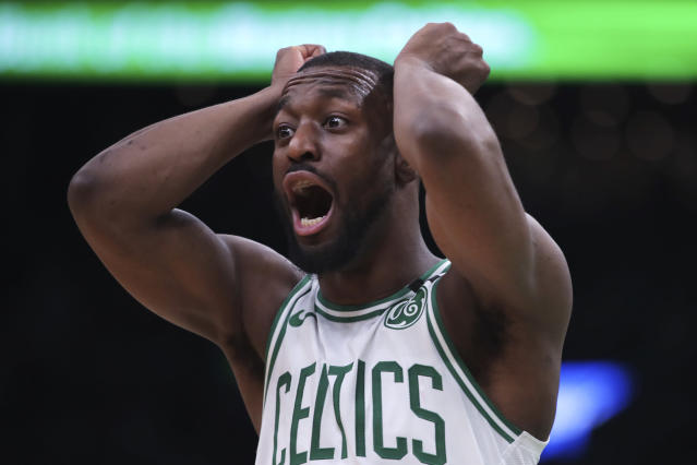 Boston Celtics guard Kemba Walker (8) reacts to a call during the first half of an NBA basketball game against the Memphis Grizzlies in Boston, Wednesday, Jan. 22, 2020. (AP Photo/Charles Krupa)
