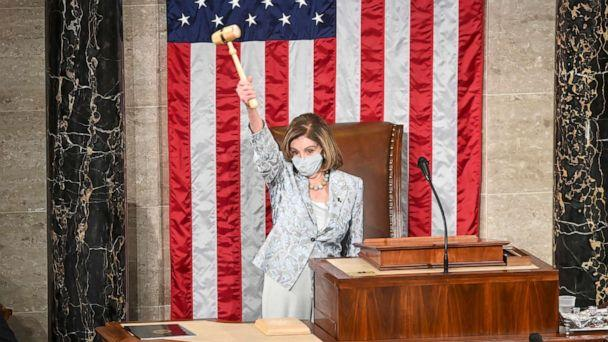PHOTO: House Speaker Nancy Pelosi presides over the year's opening session on Congress in Washington, Jan. 3, 2021. (Bill O'Leary/Pool via Getty Images)