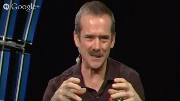 Astronaut Hadfield talks about his experiences in the International Space Station during a Google+ Hangout, May 23, 2013.