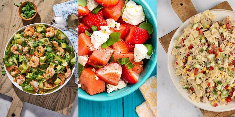 """<p>A freshly prepared, delicious salad for <a href=""""https://www.delish.com/uk/cooking/recipes/g29890570/healthy-lunch-ideas/"""" rel=""""nofollow noopener"""" target=""""_blank"""" data-ylk=""""slk:lunch"""" class=""""link rapid-noclick-resp"""">lunch</a> hits differently. Especially one that's jam-packed with all kinds of seasonal flavours (<a href=""""https://www.delish.com/uk/cooking/recipes/a32846762/mandarin-orange-salad-recipe/"""" rel=""""nofollow noopener"""" target=""""_blank"""" data-ylk=""""slk:Mandarin Orange Salad"""" class=""""link rapid-noclick-resp"""">Mandarin Orange Salad</a>, <a href=""""https://www.delish.com/uk/cooking/recipes/a33641941/avocado-chicken-salad-recipe/"""" rel=""""nofollow noopener"""" target=""""_blank"""" data-ylk=""""slk:Avocado Chicken Salad"""" class=""""link rapid-noclick-resp"""">Avocado Chicken Salad</a>, <a href=""""https://www.delish.com/uk/cooking/recipes/a32157065/greek-orzo-pasta-salad-recipe/"""" rel=""""nofollow noopener"""" target=""""_blank"""" data-ylk=""""slk:Greek Orzo Salad"""" class=""""link rapid-noclick-resp"""">Greek Orzo Salad</a> - the list goes on). And since many of us are working from home, or trying to improve our lunch-game, we've decided to pull together a selection of insanely-easy summer salads for you to give a go. For the ultimate summer inspiration, take a look out our best-tasting summer salad recipes now...</p><p>P.S. Our<a href=""""https://www.delish.com/uk/cooking/recipes/a32998257/watermelon-salad-feta-mint-recipe/"""" rel=""""nofollow noopener"""" target=""""_blank"""" data-ylk=""""slk:Watermelon Feta Salad"""" class=""""link rapid-noclick-resp"""">Watermelon Feta Salad</a> is the epitome of summer!🌞🍉</p>"""