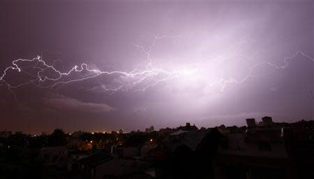 Lightning strikes over Buenos Aires during a thunderstorm