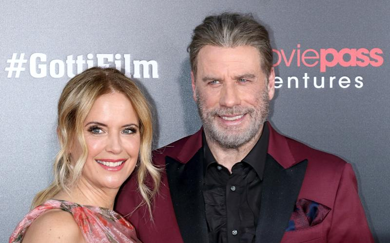 "NEW YORK, NY - JUNE 14: Actors Kelly Preston and John Travolta attend the ""Gotti"" New York premiere at SVA Theater on June 14, 2018 in New York City. (Photo by Jim Spellman/WireImage)"