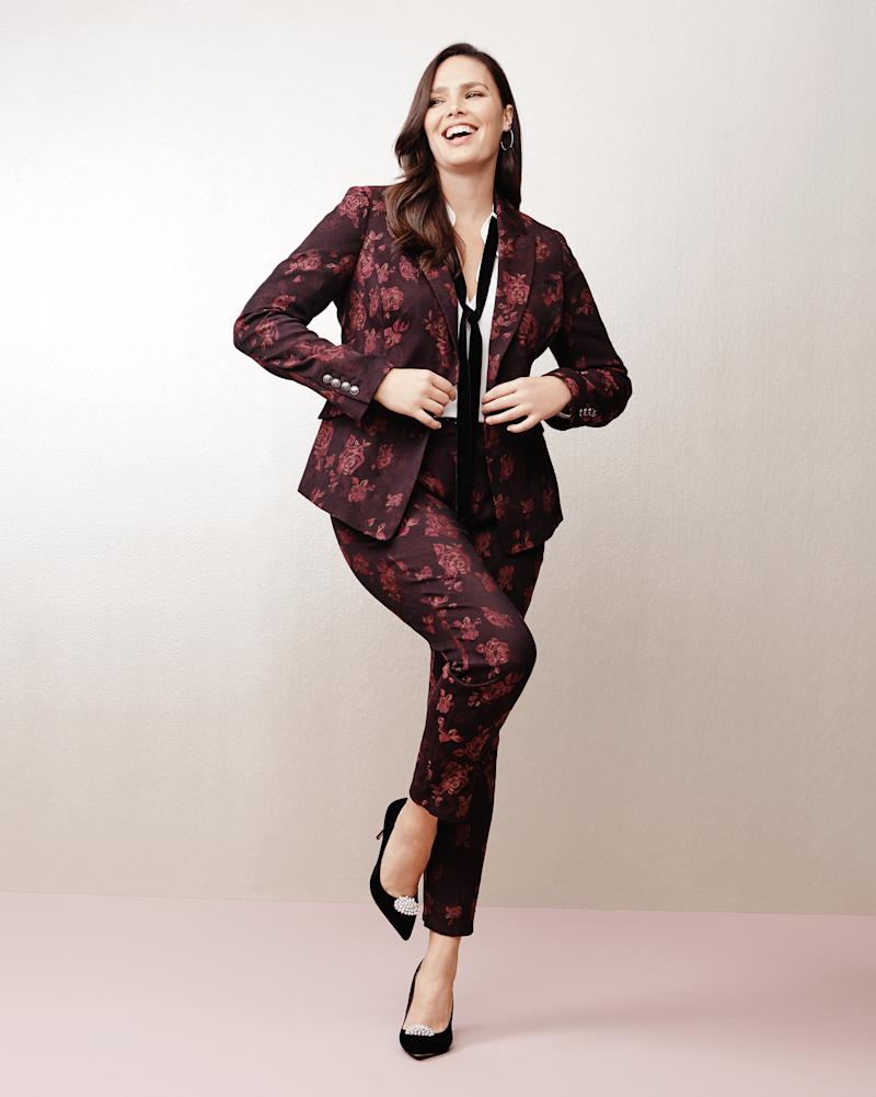 "From WHBM's new plus collection, featuring the <a href=""https://www.whitehouseblackmarket.com/store/product/plus+roseprint+jacquard+slim+ankle+pants/570218835?color=1808&catId=cat11659287"" target=""_blank"">Rose Print Jacquard Slim Ankle Pants</a> and the <a href=""https://www.whitehouseblackmarket.com/store/product/plus+roseprint+jacquard+blazer+jacket/570218841?color=1808&catId=cat11659287"" target=""_blank"">Rose Print Jacquard Blazer Jacket</a>.  (White House Black Market)"