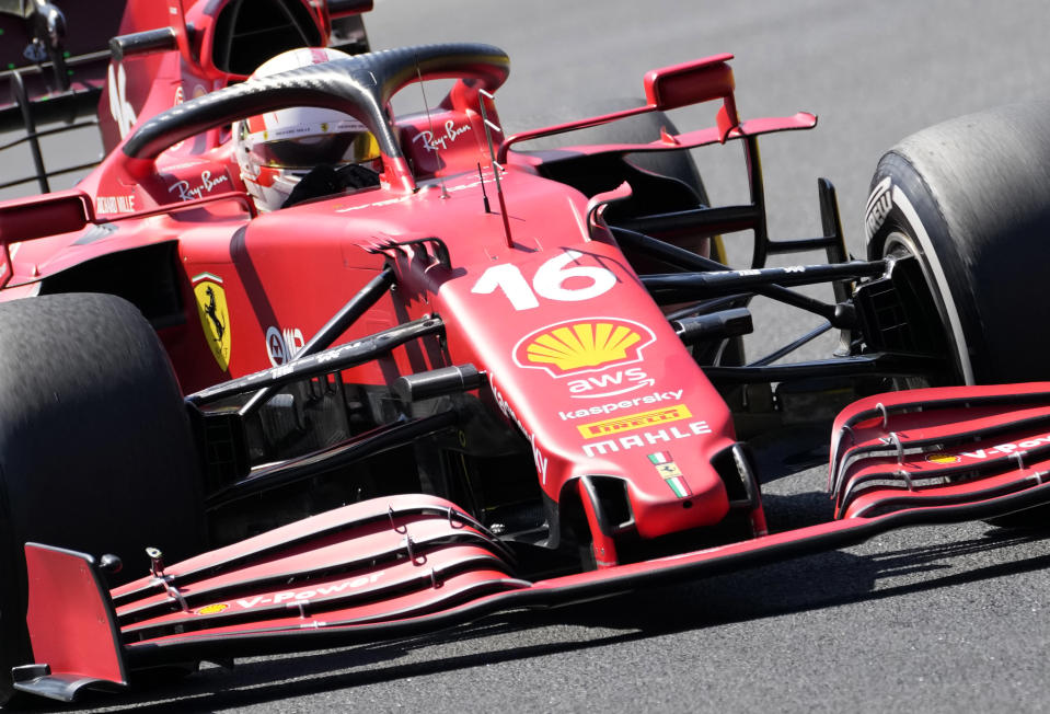 Ferrari driver Charles Leclerc of Monaco steers his car during the first free practice at the Hungaroring racetrack in Mogyorod, Hungary, Friday, July 30, 2021. The Hungarian Formula One Grand Prix will be held on Sunday. (AP Photo/Darko Bandic)