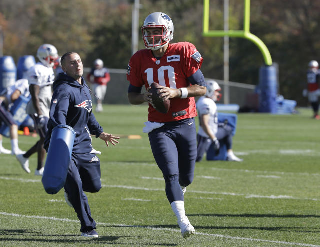 New England Patriots quarterback Jimmy Garoppolo does drills during practice earlier this month. Garoppolo was traded to San Francisco on Monday. (AP)